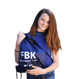 Girl holding FBK bag